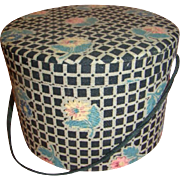 SALE Antique Doll-Size Hat Box with Padded Top and Original Tissue
