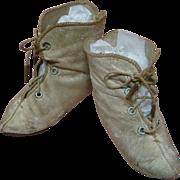SALE Antique French Leather Boots sz 11-12 Alart Symbol