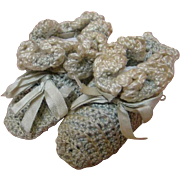 Antique Crochet Slippers Found on 1880's China Doll