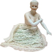 SALE Nude Porcelain German Half Doll, Arms Away with Long Gloves