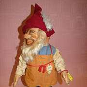 "SALE 12"" Original Steiff Gnome, Gucki, Cloth, Masked Face, Tags, Buttons"