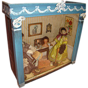 SALE Antique Millinery Shop Display with English Wood Dolls, Wax Head
