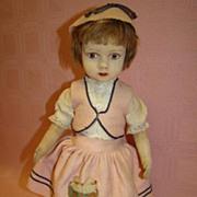 15 In. Original Lenci-Type Doll, Felt Head, Cloth Body, Jtd.