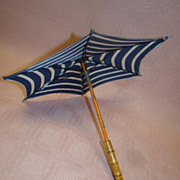 13 Inch Doll French Parasol, Tagged Made in France, Wood Rattan Curved Handle