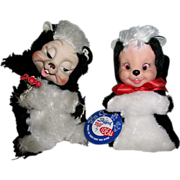 SOLD Pair of 1950's Ideal and Rushton Rubber Face Stuffed Toy Skunks