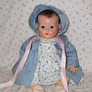 """SOLD Dark Brunette 20"""" Effanbee Dy-Dee Louise Baby MOLD 2 -- w/ Original Layette"""