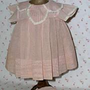 "SOLD TAGGED -1930's Effanbee 20"" Dy-Dee Pink Organdy Dotted Swiss Dress Bonnet Slip"