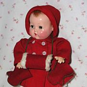 "SOLD 11"" Effanbee Dy-Dee Ellen ORIGINAL Christmas RED Twill Coat and Dress Set"