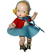 """SOLD Harriet Flanders 1937 Compo 12"""" Little Cherub Baby -- All Original in Skating Outfit"""
