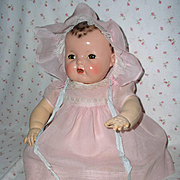 """SOLD Effanbee 20"""" Dy-Dee Lou Factory Dress and Bonnet -- Pink Organdy"""