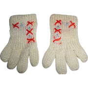 Vintage White Wool Knit GLOVES for your Effanbee Dy-Dee / Patsy Family Dolls