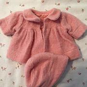 "PINK Effanbee Original Factory Eiderdown Coat Set for 11"" Dy-Dee Ette"
