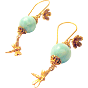 Larimar and Vermeil Dragonfly Pierced Earrings