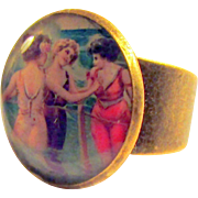 "Old Timey Bronze ""Ladies at the Beach"" Adjustable Ring"