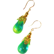 Green Briolette Styled Uranium Glass and Gold Fill Earrings