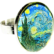 SOLD Starry Starry Night Van Gogh Adjustable Ring