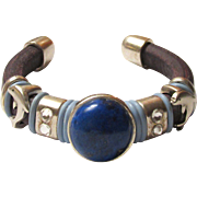 SOLD Thick Greek Leather Bracelet with Dolphin Designs and Lapis Stone