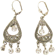 Classical Design Silver Plated Pierced Earrings with Vintage Rhinestones