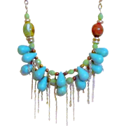 Turquoise Colored Two Strand Briolette Necklace