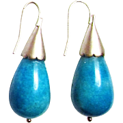 Turquoise Blue Briolette Shell Pierced Earrings