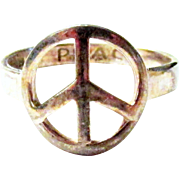 SOLD Vintage Size 9 Sterling Silver Peace Sign Ring