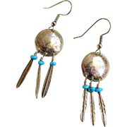 Vintage Sterling Silver and Sleeping Beauty Turquoise SW Style Earrings