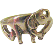 Vintage Sterling Silver Elephant Ring Size 7.5