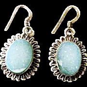 Vintage Light Blue Druzy Sterling Silver Earrings