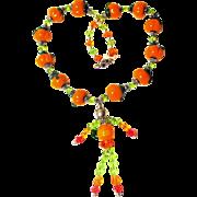 Swarovski Crystal Lampwork Glass Pumpkin Man Necklace