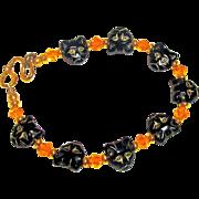 Czech Glass Cats and Swarovski Crystal Bracelet