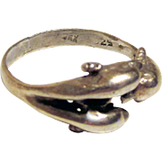 Vintage Sterling Silver Triple Dolphin Ring Size 7.5