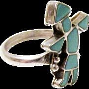 Vintage Zuni Turquoise Blue Kachina Ring Sterling Silver Size 6