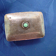 SS Pill Box w Turquoise Cabochon Stone