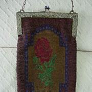 Dynamic Art Nouveau Large Purse w Micro Glass Beaded Rose Design w  Beautiful Ornate Frame
