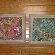 Pair of Abstract Paintings 1964 in Original Oak Frames