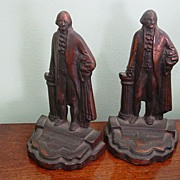 George Washington Pair of Cast Iron w Bronze Finish Book Ends