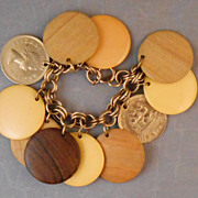 REDUCED Vintage Large Disk Charm Bracelet with Bakelite, Coin, Wood Charms