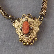 REDUCED Antique Victorian Gold Filled Coral Carved Cameo on a Mesh Book Chain Necklace