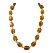 Vintage Art Glass Amber Glass Barrel Bead Necklace Clear Faceted Spacers