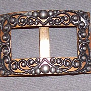 SOLD Vintage Brass Buckle with Cut Steel or Pewter Accents