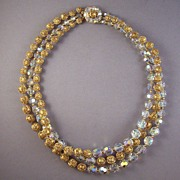 REDUCED Vintage Marvella AB Crystal & Filigree Bead Necklace