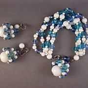 REDUCED Vintage Marvella Blue & White Glass Bead Bracelet & Earrings