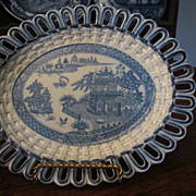 SALE Staffordshire Transferware Reticulated plate TURNER c.1800
