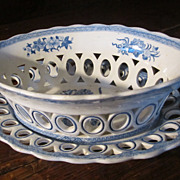 SALE SPODE Staffordshire Transferware Reticulated Basket&Undertray