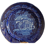 "SALE Staffordshire Transferware Dark Blue 8 1/2 "" Plate Adams"