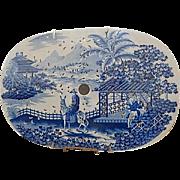 Antique Blue Staffordshire Transfer  Large Drainer- 'Departing Traveller' - Maker Unknown