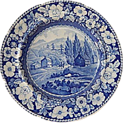 "Antique Historical Staffordshire Transferware Blue Plate- ""View On The Road To Lake Georg"