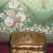 EXQUISITE Victorian Gilded Embossed Brass Trinket Box!