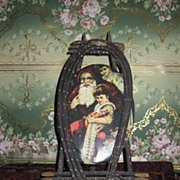 SOLD RARE Victorian Tin Lithograph Oval Santa Plaque with Easel Frame!