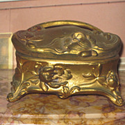 Sale~FANCY Art Nouveau Miniature Embossed Metal Trinket Box!